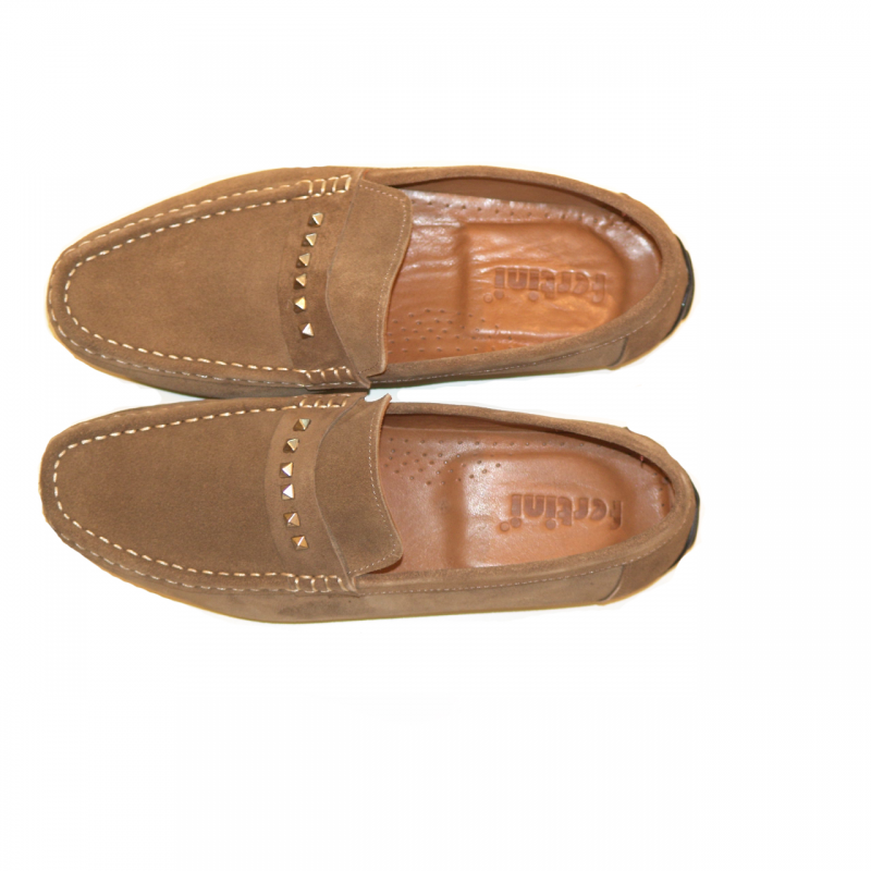 Pelle Line Exclusive 633 slipon with metal decoration Taupe suede
