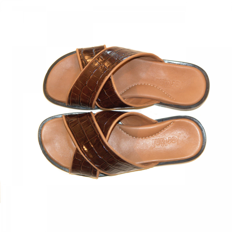 Pelle Line Exclusive 421 Sandal Brown Croco leather