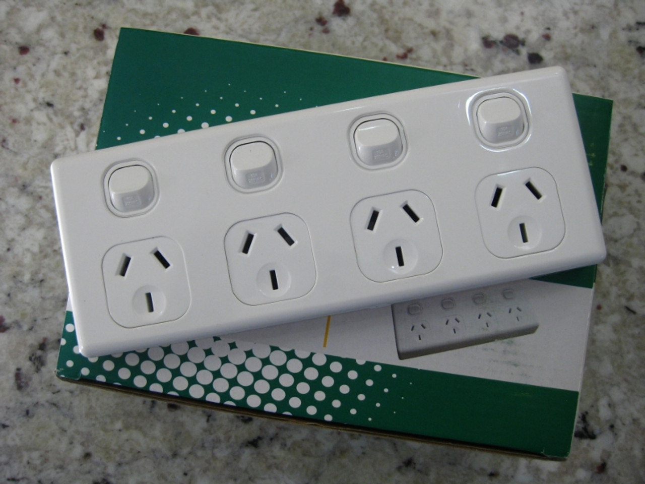 10 Amp Quad Power Point 4 Gang Socket Outlet 10A SAA GPO - Electric ...