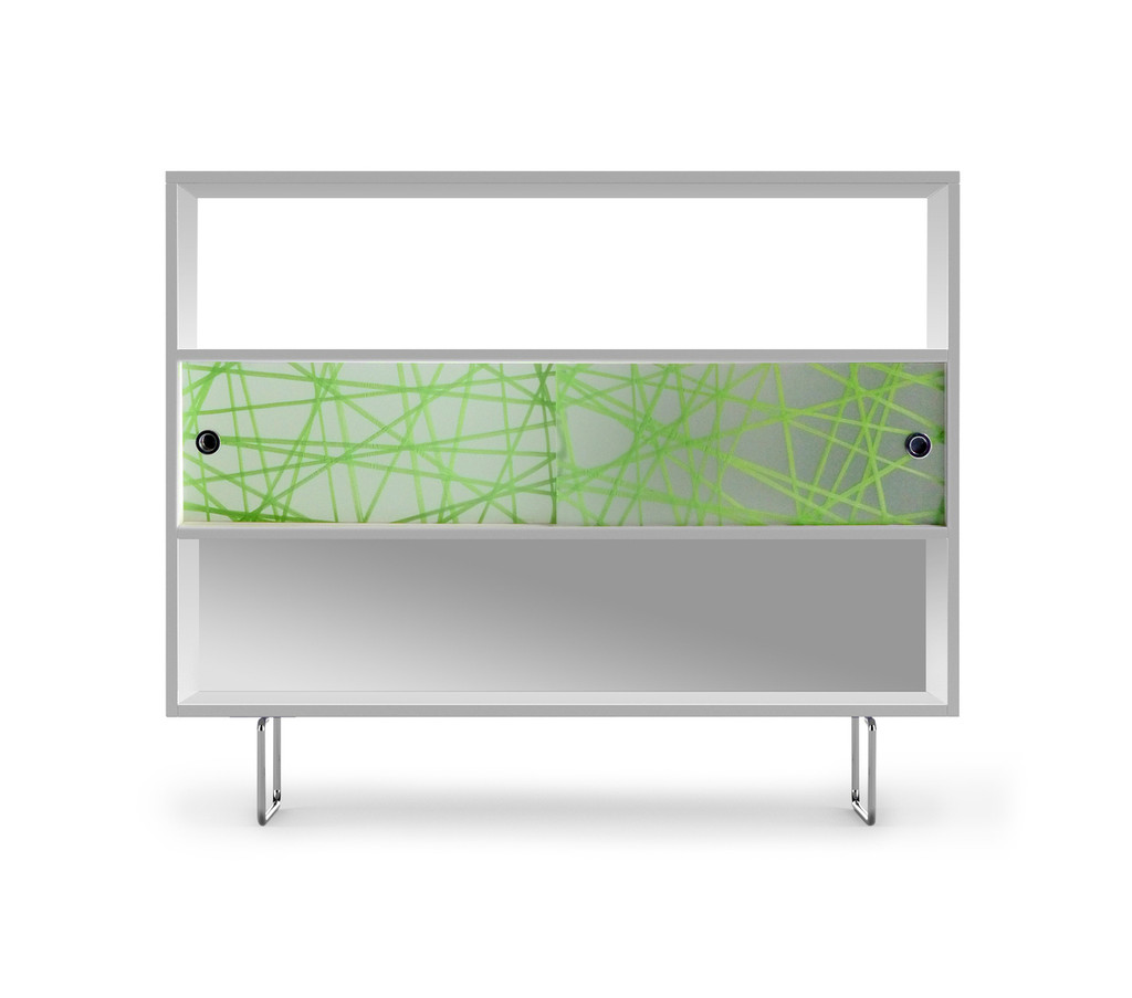 Alto Shelving shown with Green Strand panels.