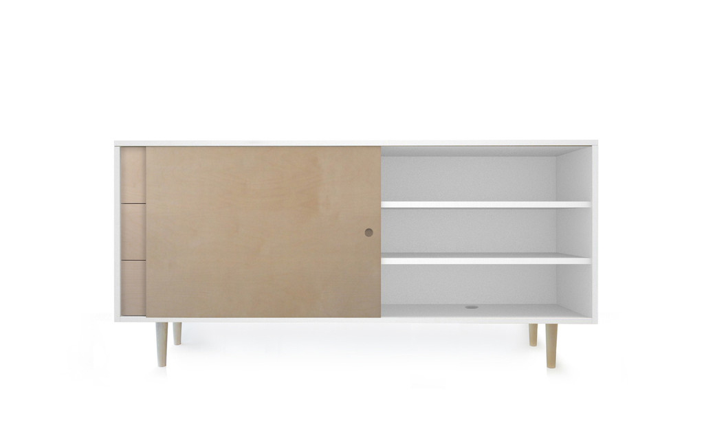 Ulm Birch/White Credenza with open sliding door.