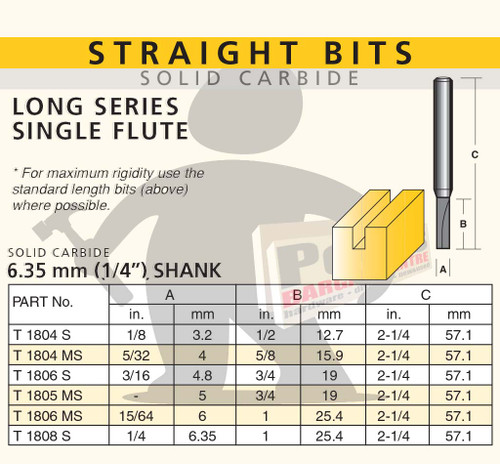 STRAIGHT BIT - LONG SERIES SINGLE FLUTE-SOLID CARBIDE 6.35MM