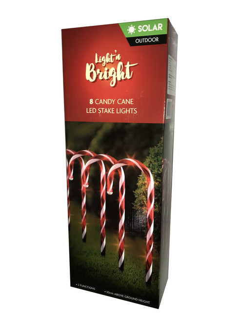 Led rope lights white 5mtr 8 function solar petes bargain centre 8 candy cane led stake lights solar aloadofball Image collections