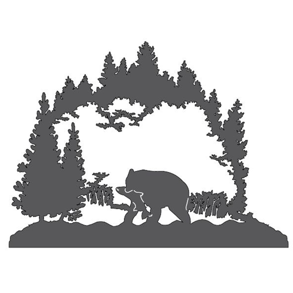 Bear in the Forest Metal Wall Art