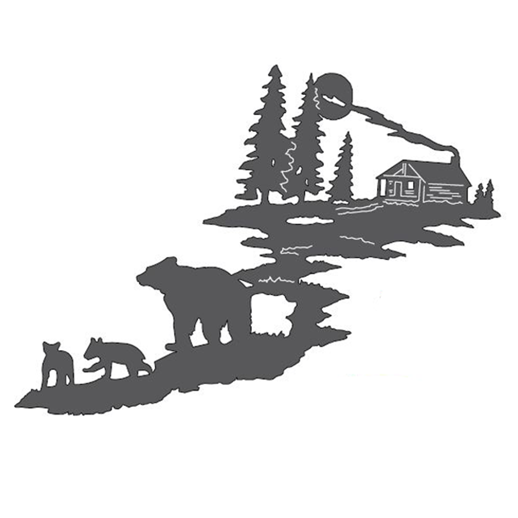 Bears & Cabin Metal Wall Art