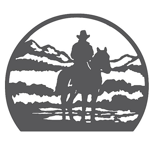 Cowboy in the Mountains Metal Wall Art