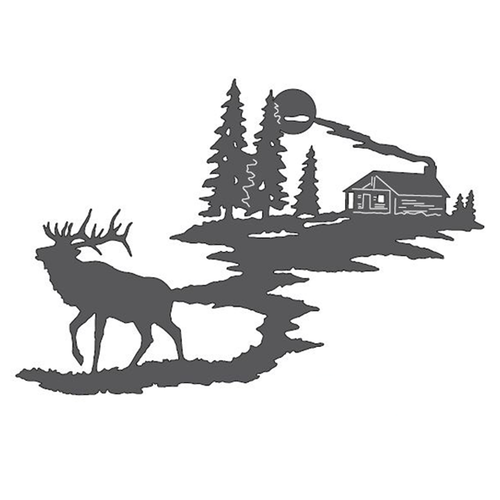 Elk & Cabin Metal Wall Art