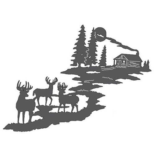 Bucks & Cabin Metal Wall Art