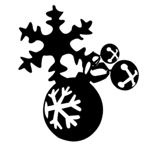 Metal Snowflake and Bell Ornament