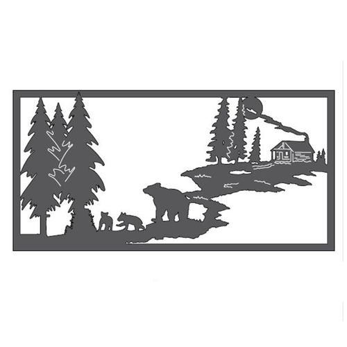 "Bears & Cabin Metal Wall Art (46"" x 23"")"