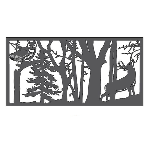 "Deer & Owl Metal Wall Art (46"" x 23"")"