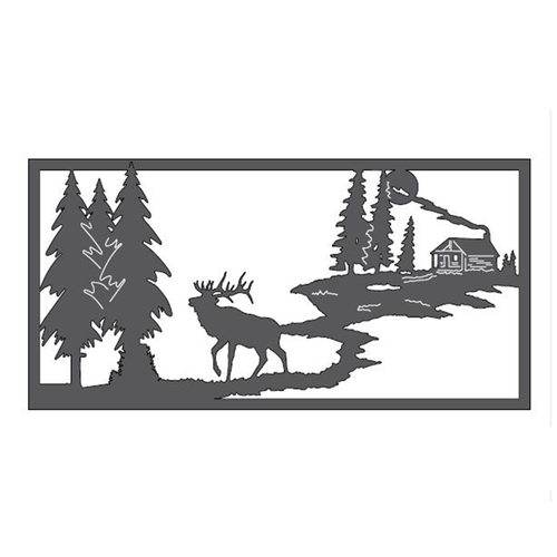 "Elk & Cabin Metal Wall Art (46"" x 23"")"