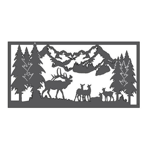 "Elk in the Mountains Metal Wall Art (46"" x 23"")"