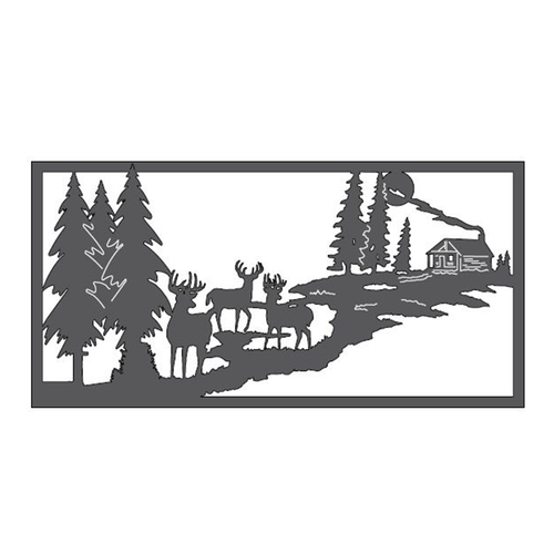 "Bucks & Cabin Metal Wall Art (46"" x 23"")"