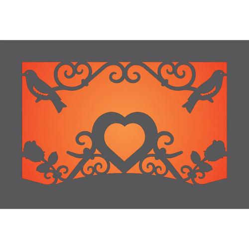 Metal Light Box (Heart, Roses & Birds)