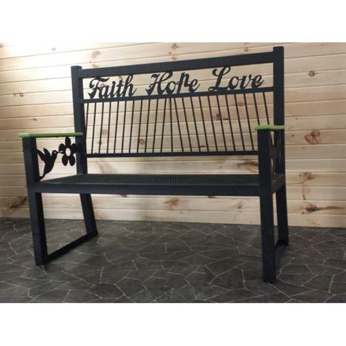 Metal Faith Hope Love Park Bench