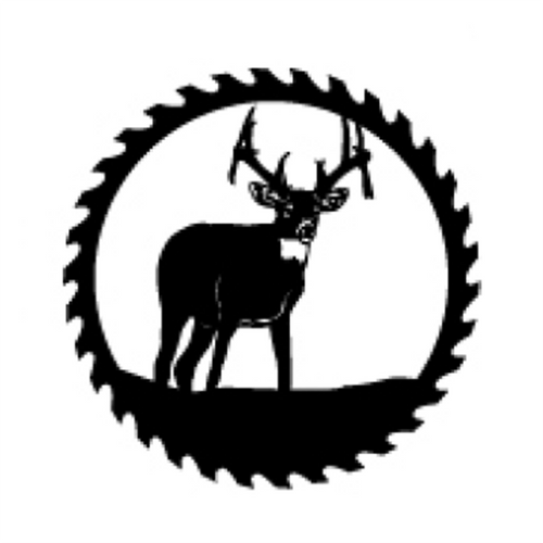 Circular Sawblade Metal Wall Art (Buck II)