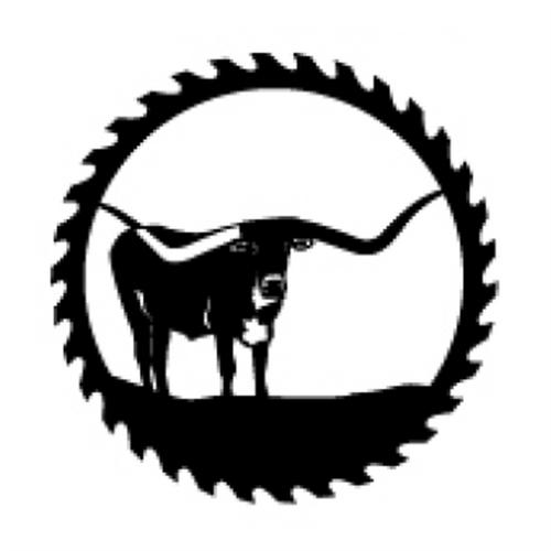 Circular Sawblade Metal Wall Art (Longhorn)
