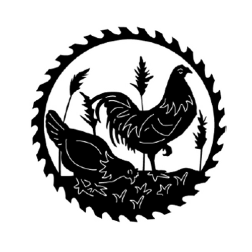 Circular Sawblade Metal Wall Art (Chickens)