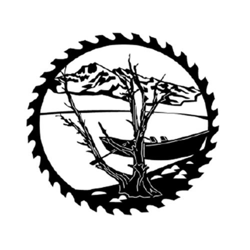 Circular Sawblade Metal Wall Art (Canoe)