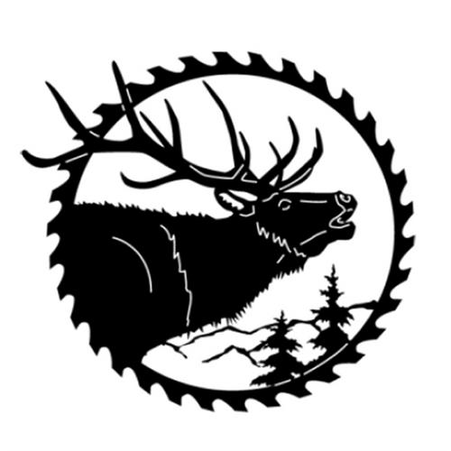 Circular Sawblade Metal Wall Art (Elk II)