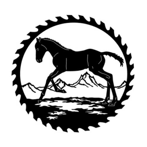 Circular Sawblade Metal Wall Art (Foal)