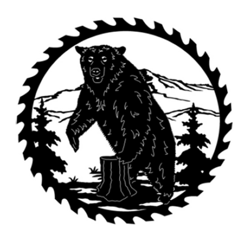 Circular Sawblade Metal Wall Art (Bear II)