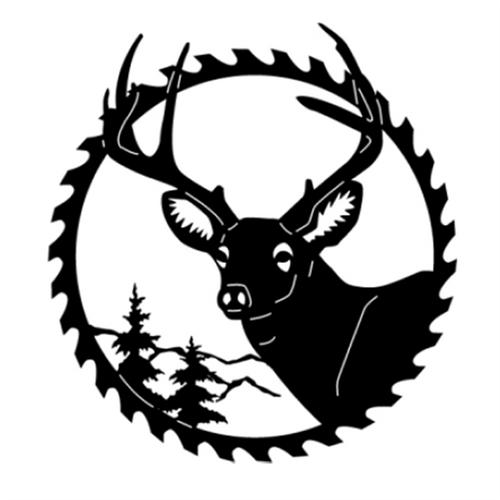 Circular Sawblade Metal Wall Art (Buck III)