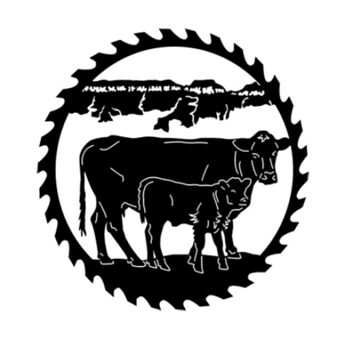 Circular Sawblade Metal Wall Art (Cow & Calf)