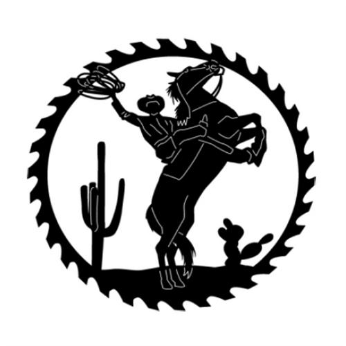 Circular Sawblade Metal Wall Art (Cowboy & Horse)