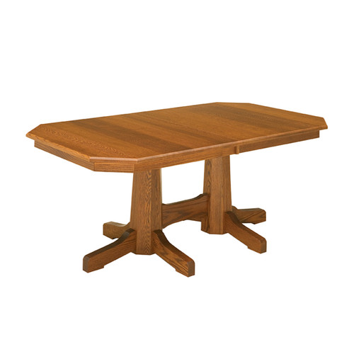 Pinnacle Mission Double Pedestal Table
