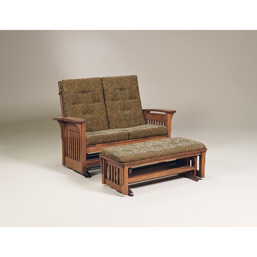 Bow Arm Panel Loveseat Ottoman