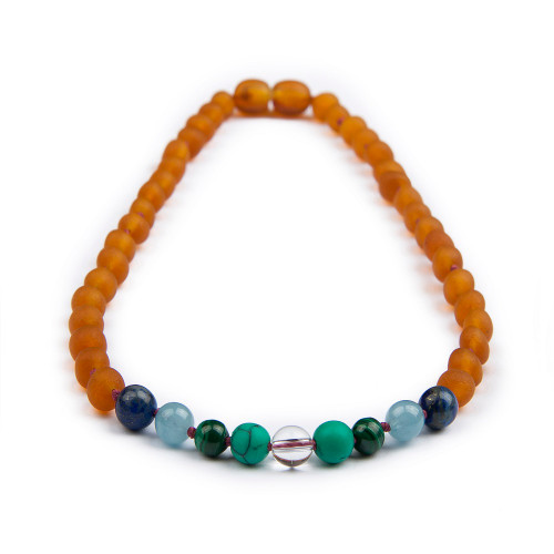 Child of the Sun Amber Teething Necklace with Gemstones