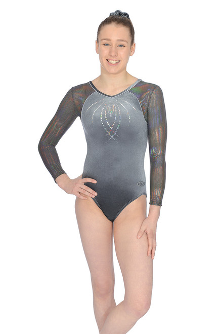 "The Zone ""Paris"" Long Sleeve Gymnastics Leotard Grey"