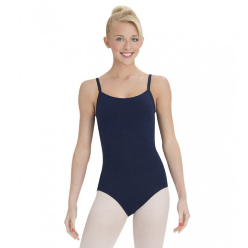 SUSAN ROBINSON NAVY CAMI STRAPPED COTTON LEOTARD (BRATEK®)