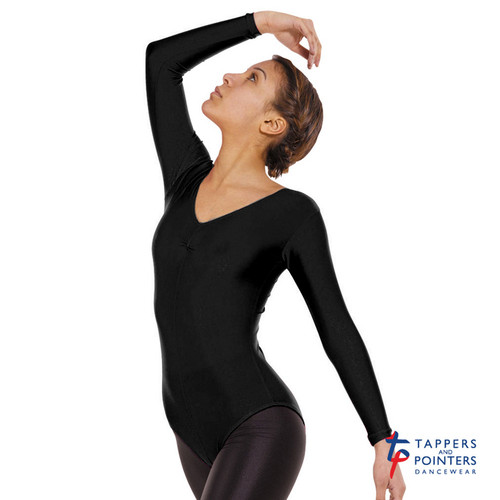 TAPPERS & POINTERS LEO 4 LONG SLEEVED RUCHED FRONT LEOTARD Jr