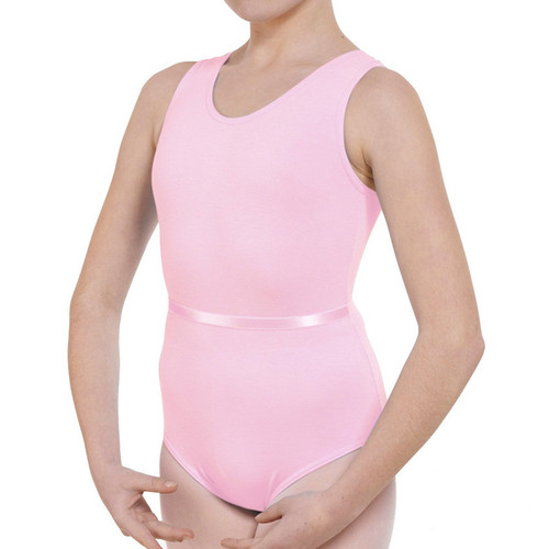MOLESEY SCHOOL OF BALLET PINK TANK LEOTARD WITH BELT