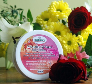 sheabynature Geranium and Rose body butter with 50% unrefined shea butter 250g pot