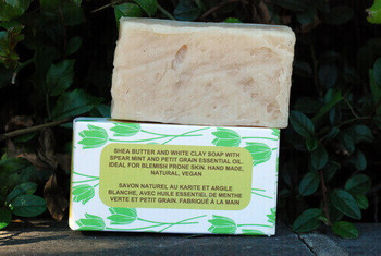 Blemish Relief White Clay Skin Balancing Soap with Organic Unrefined Shea Butter, Spearmint and Petitgrain essential oils and Vitamin E, Ideal for oily skin