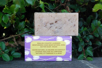 Country Lavender Natural Handmade Soap with Organic Unrefined, Fair Trade Shea Butter, Coconut and Olive Oil (115-135g)