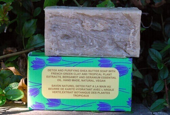 Detox and Purifying Shea Butter Soap with Tropical Plant Extracts and French Green Clay . Ideal for purifying the Skin