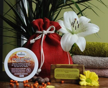 Gift set of COCONUT and Vanilla Body Butter with Unrefined Shea butter(250ml), and Yummy Chocolate Natural Soap, Hand-made soap with cocoa butter and coconut oil(115-135g), all in a natural Jute Bag.