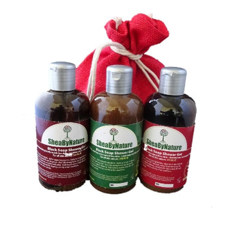 SheaByNature Natural Body wash African Black soap gift set with 250ml Coconut Vanilla, 250ml lemongrass Lemon and 250ml geranium Lavender YlangYlang Black soap, Rich in Shea butter, Coconut oil
