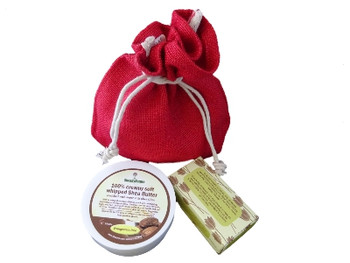 SheaByNatural natural skin care gift set of 100% Creamy Soft whipped Unrefined Shea Butter Enriched in Shea Olein, 250g. Oatmeal and almond skin softening soap with cedarwood lime essential oils