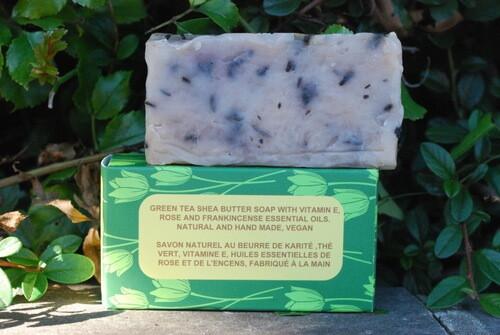 Green Tea and Vitamin E Shea Butter soap. Rich in Anti oxidant Properties