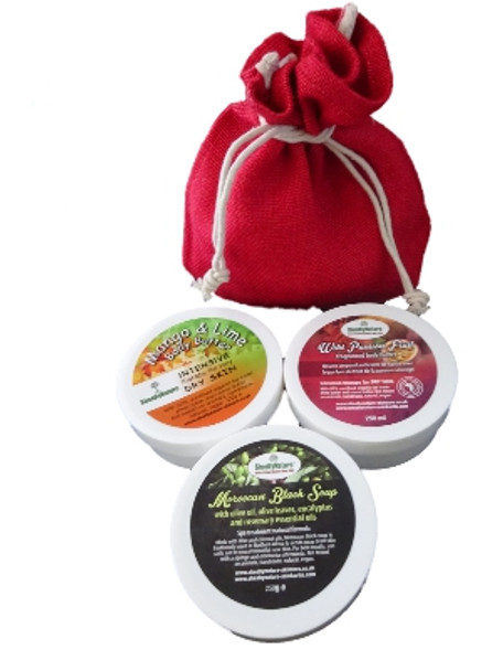 SheaByNature Natural Body care gift set with Mango Lime Body Butter 250ml Passion fruit Shea body butter 250ml, Moroccan black soap 300ml. Ideal gifts unisex gift