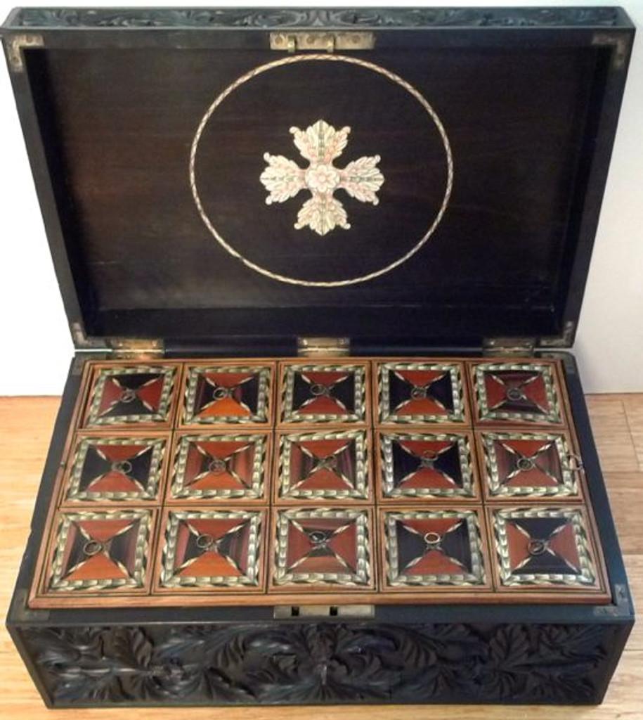 HARRINGTON & CO EARLY 19th C. CARVED EBONY BOX - SRI LANKA