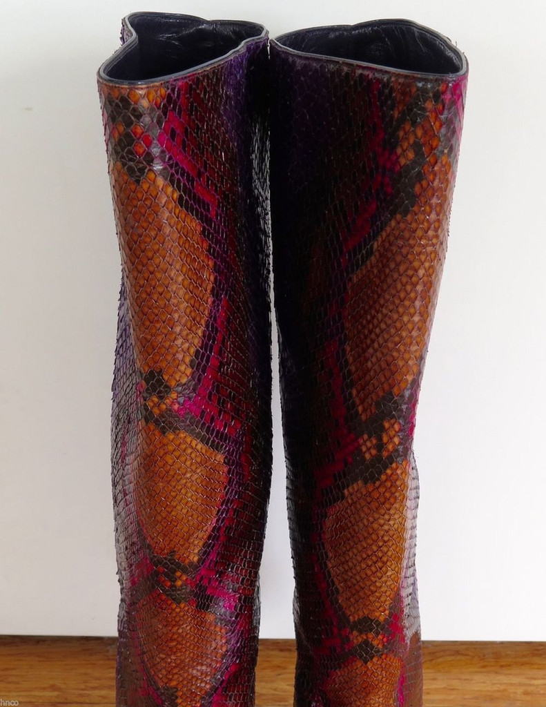 Auth Jimmy Choo Tosca python knee boots size 39 1/2