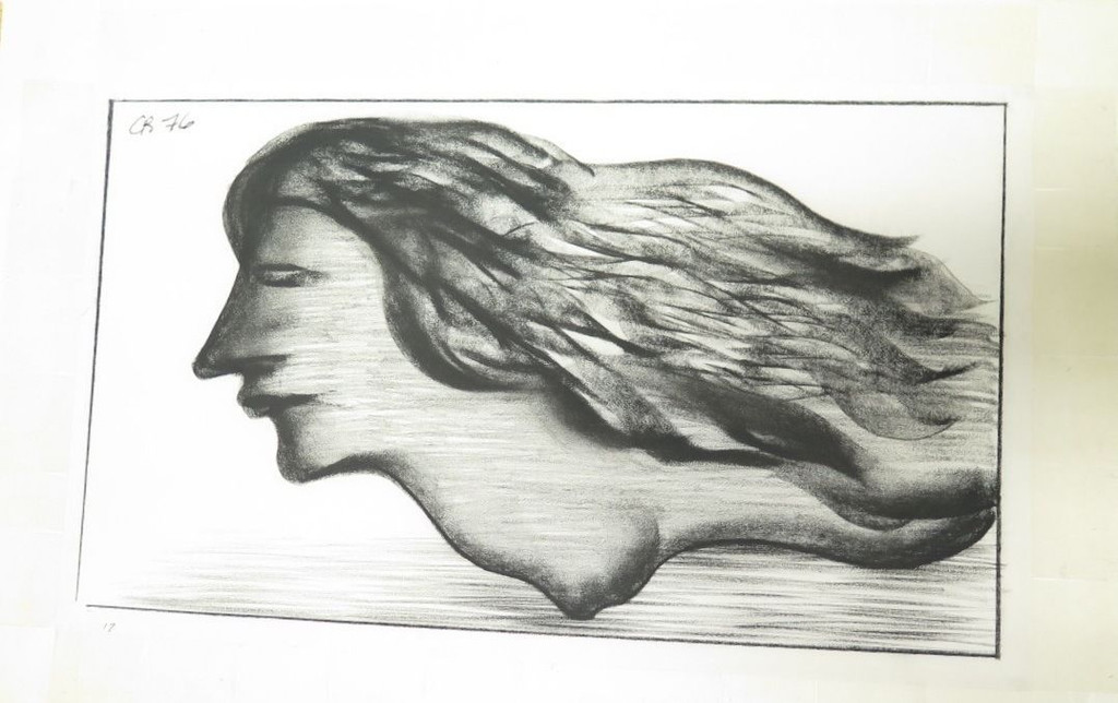ORIGINAL CHARLES BLACKMAN CHARCOAL ON PAPER 600 X 360 c.1976