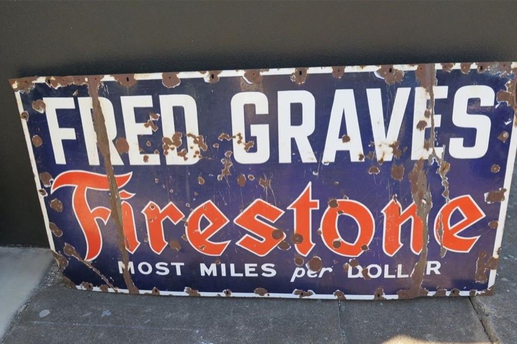 RARE c1930's FRED GRAVES FIRESTONE HUGE 1.52M METAL ADVERTISING PORCELAIN SIGN